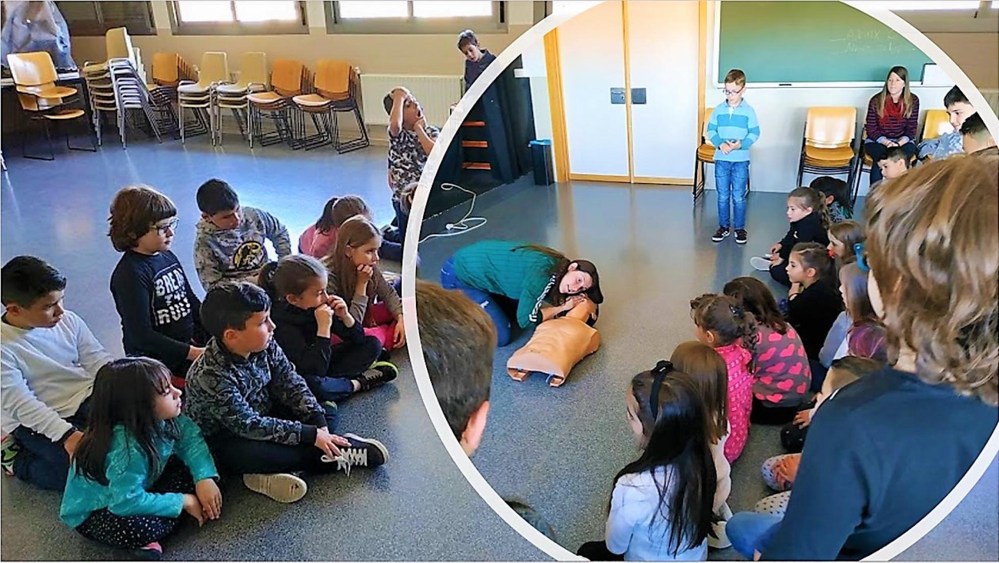 Rocío Sanz impartiendo uno de los talleres sobre primeros auxilios | COLEGIO PÚBLICO 'CALYPO'