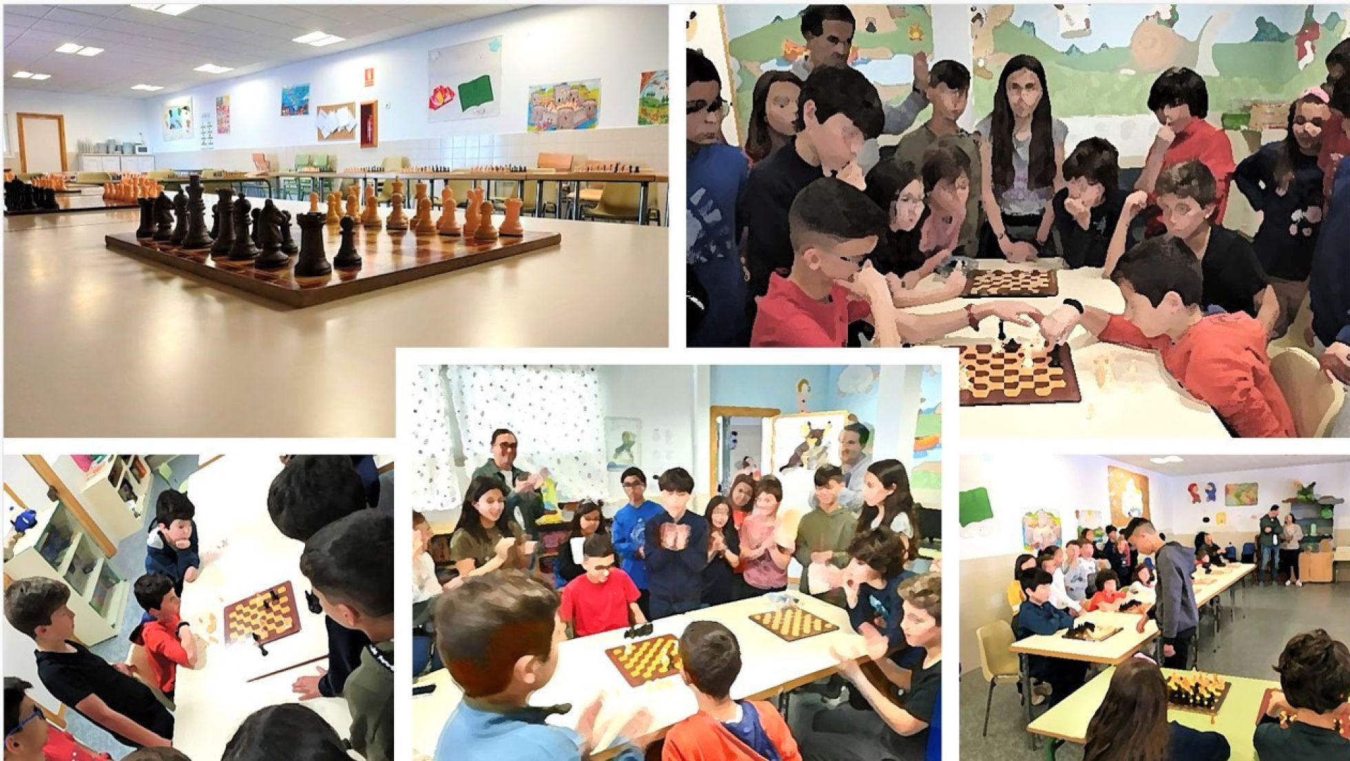 Simultanea de ajedrez. Marcos de 13 años, jugando con 16 finalistas del torneo de ajedrez | COLEGIO PÚBLICO 'CALYPO'