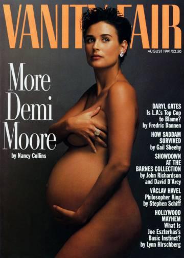 Demi Moore posó embarazada de siete meses de su segunda hija Scout en 1991.