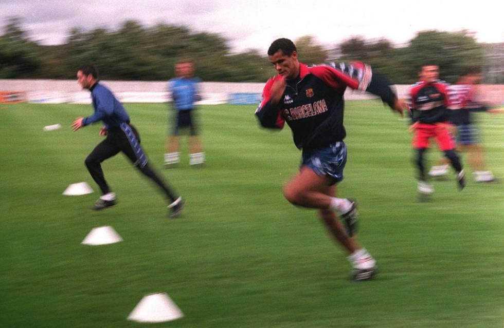 Rivaldo, fotografiado durante un entrenamiento en 1997.
