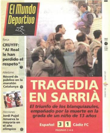 Portada del periódico especializado 'El Mundo Deportivo' en el que se informa de la tragedia en la que falleció el joven Guillermo Alfonso Lázaro en Sarrià.