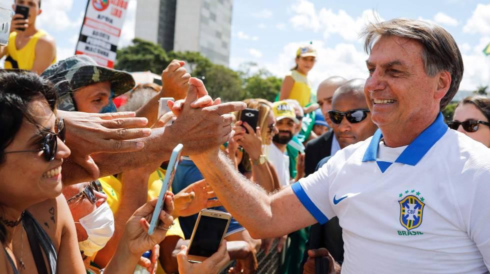 El presidente de Brasil, Jair Bolsonaro, este domingo en Brasilia.