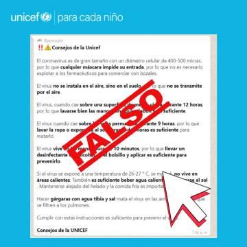 Captura de un mensaje en Facebook de Unicef Cuba, Venezuela y Paraguay para avisar de la falsedad de los mensajes que se están difundiendo en su nombre.