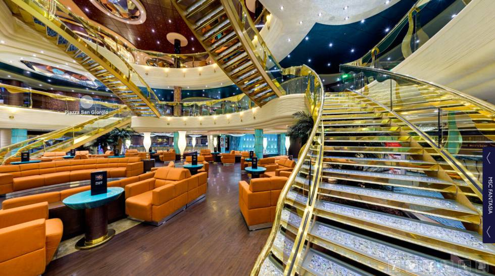 Los tours vituales de MSC Cruises muestra las zonas comunes, camarotes y spa de su flota.