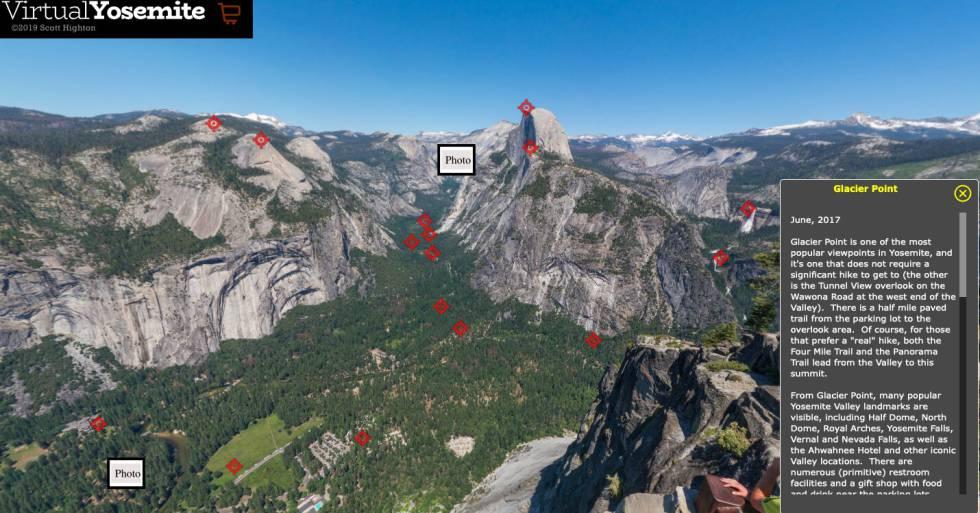 El Parque Nacional de Yosemite en las montañas de Sierra Nevada de California