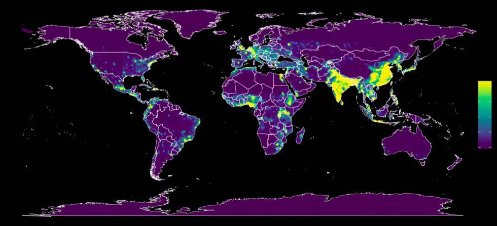 El mapa en el que se ven en amarillo los lugares en los que hay más riesgo de que surja una nueva enfermedad para los humanos.