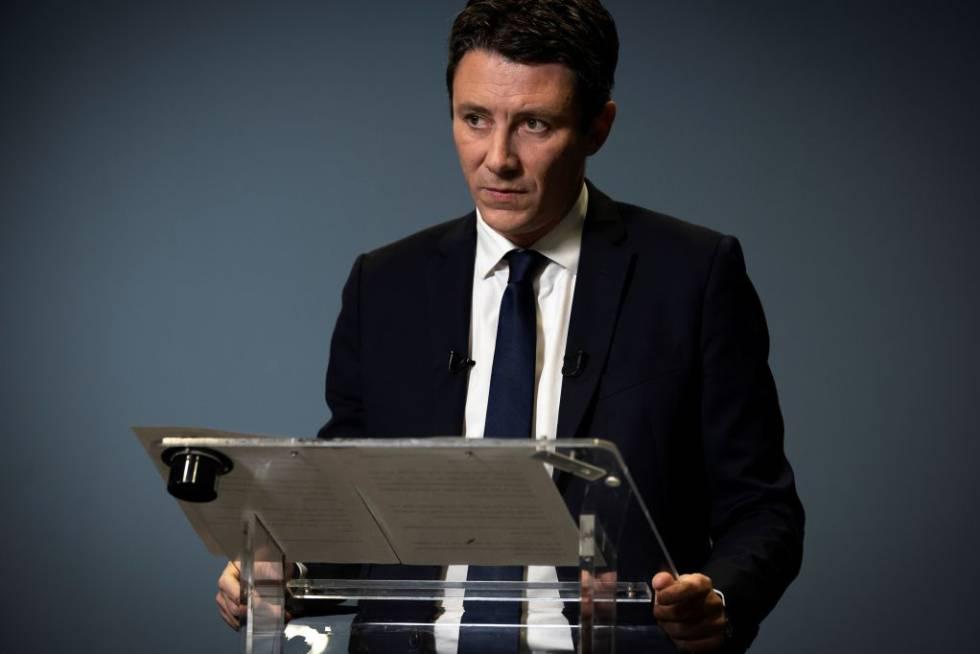 Benjamin Griveaux anunciando su retirada de la carrera electoral para la alcaldía de París el pasado febrero.