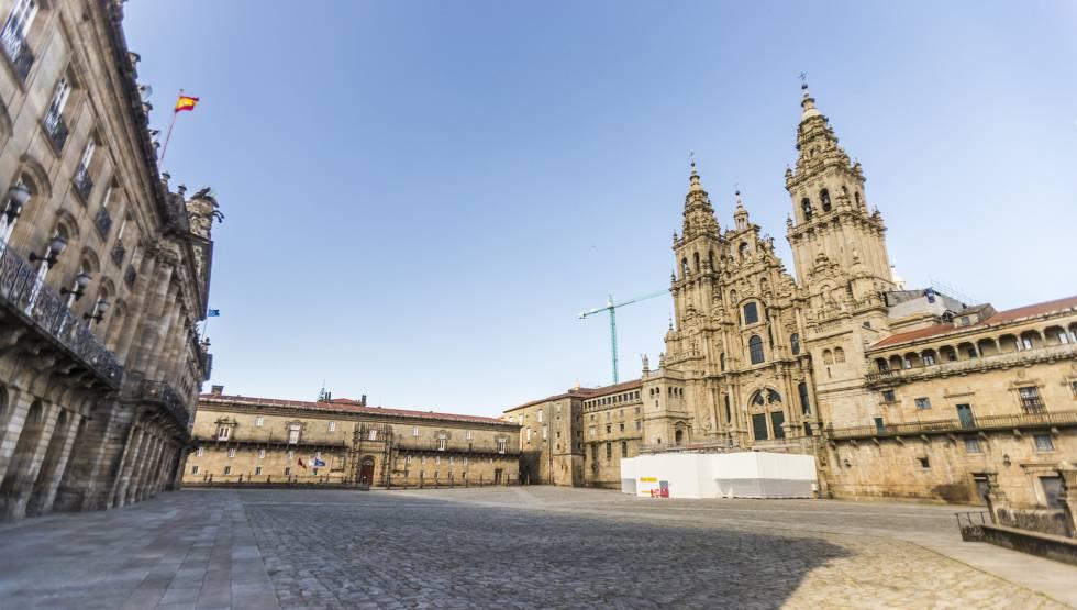 Plaza del Obradoiro, en Santiago de Compostela, este jueves.