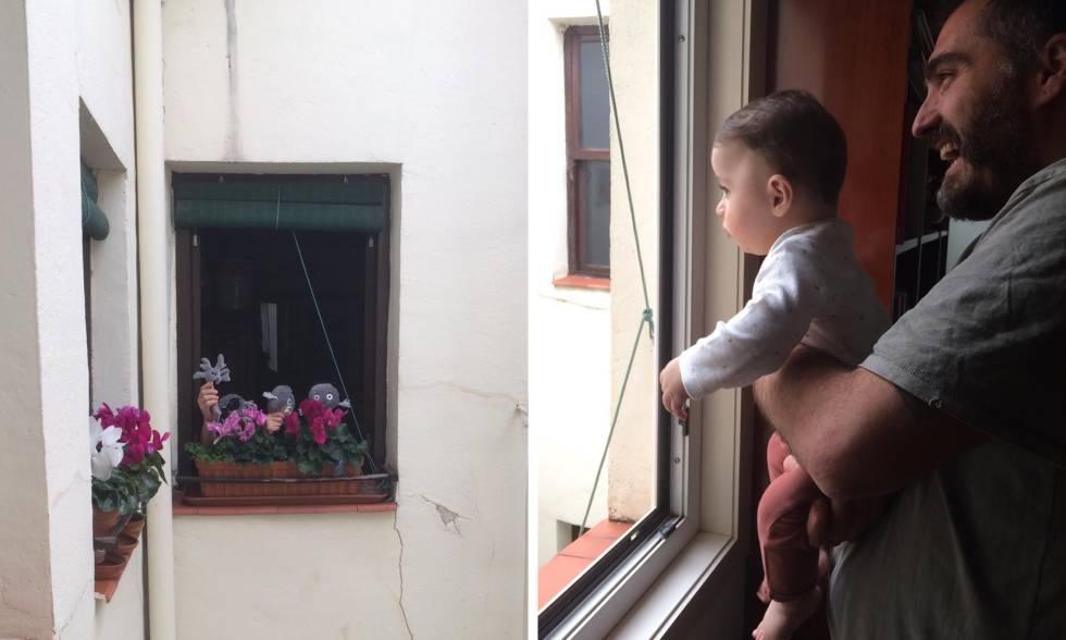En la imagen de la izquierda, unos vecinos haciendo un teatro con muñecos para León (imagen de la derecha), un niño de siete meses que está pasando la cuarentena en su casa de Madrid,