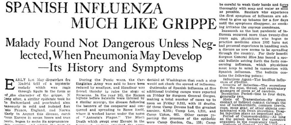 """Noticia sobre la """"gripe española"""" publicada en 'The New York Times', el 2 de noviembre de 1918."""