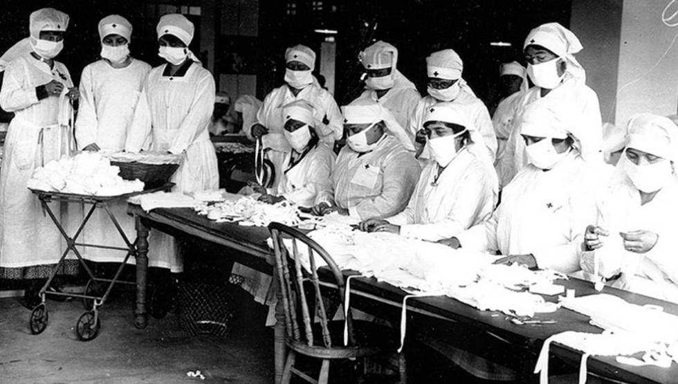 Enfermeras de la Cruz Roja, en Boston durante la epidemia de 1918.
