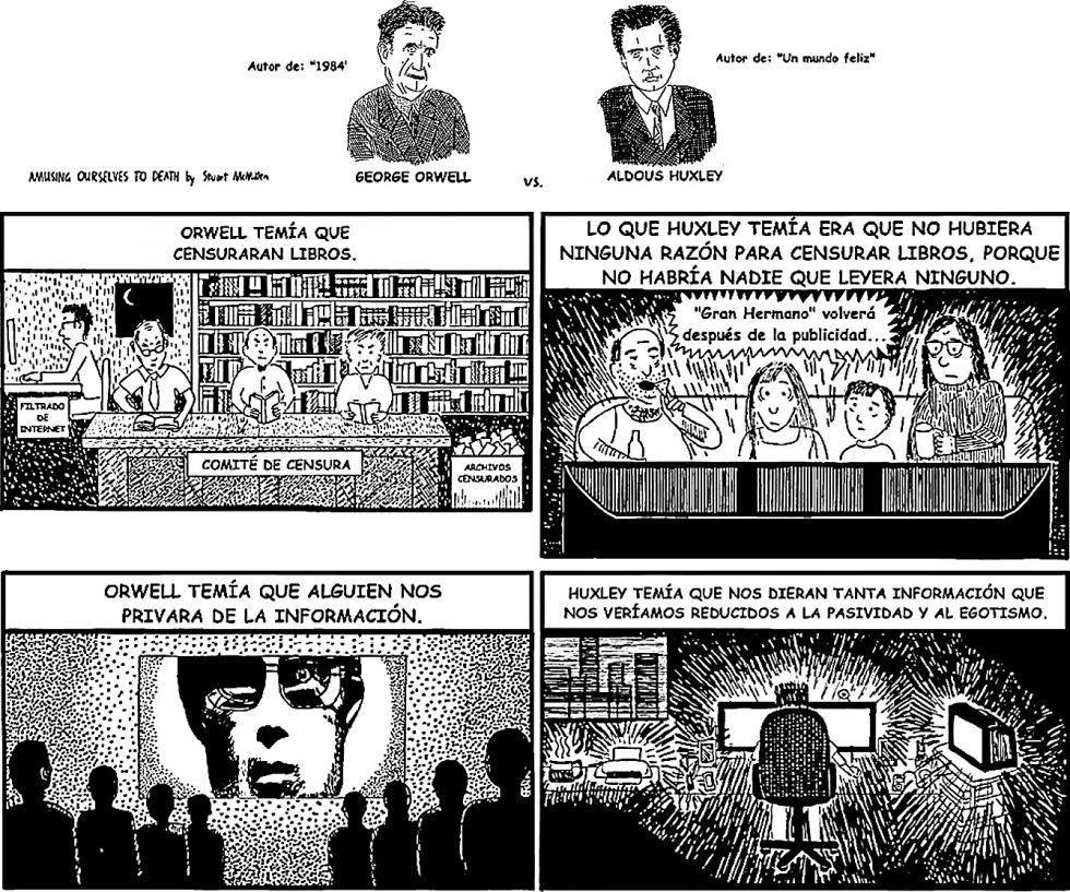 Viñetas del dibujante Stuart McMillen de comparación entre dos grandes distopías del siglo XX: '1984' de George Orwell y 'Un mundo feliz' de Aldous Huxley.