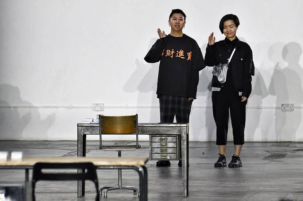 Los diseñadores de Private Policy Haoran Li y Siying Qu.