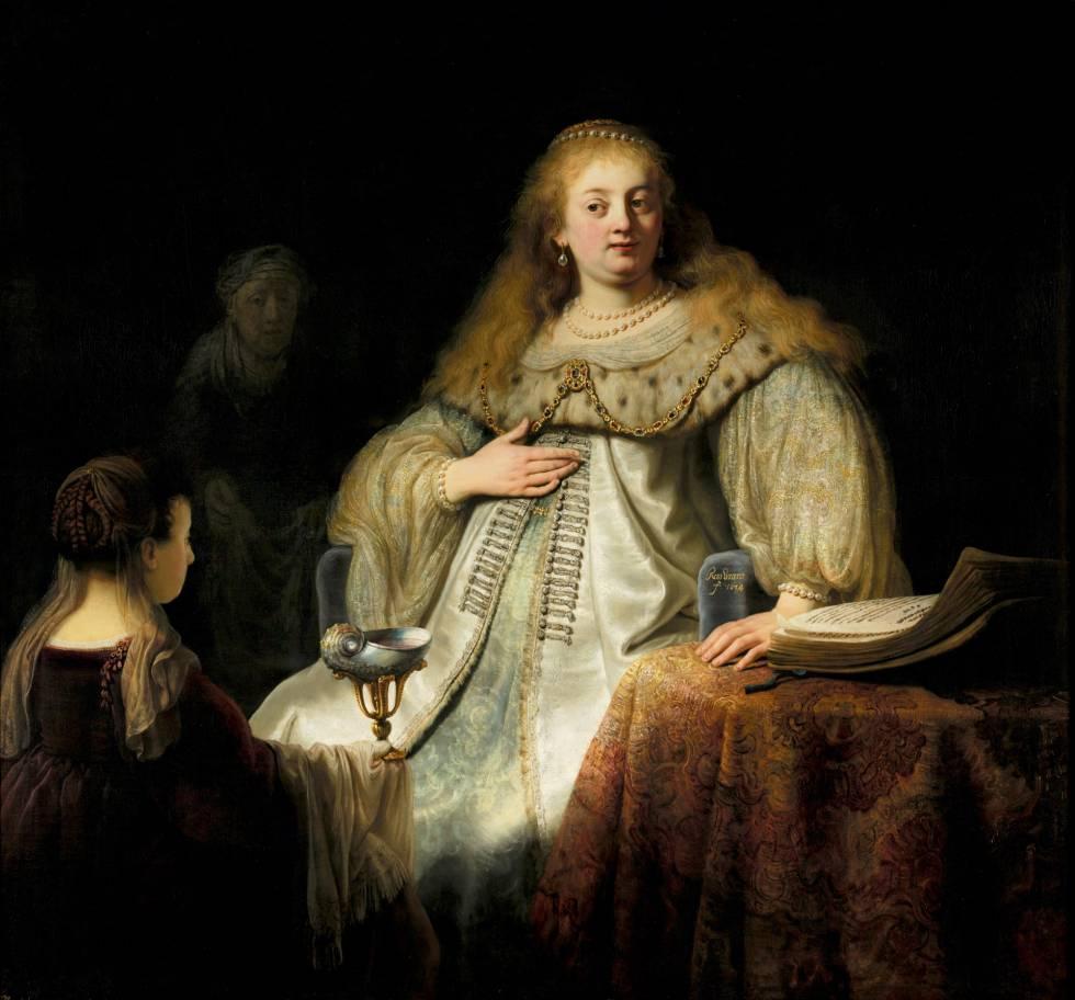 'Judit en el banquete de Holofernes, de Rembrandt.