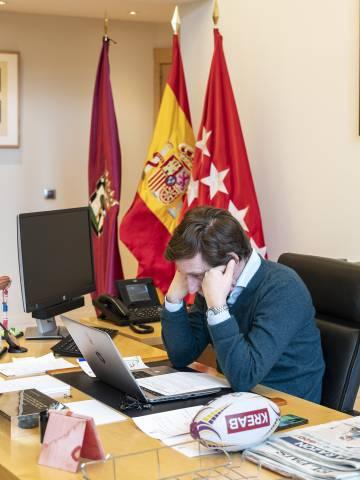 El alcalde de Madrid, durante la videoconferencia.