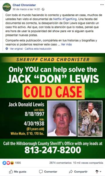 Llamamiento del sheriff Chad Chronister, del Condado de Hillsborough, Florida, para pedir ayuda en el caso de la desaparición de Jack Lewis.