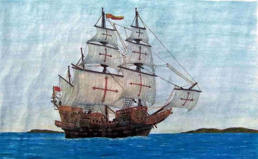 Recreación de un galeón español del siglo XVI, similar al galeón de Manila que durante siglos hizo la ruta Acapulco-Manila-Acapulco.