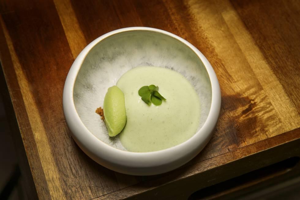 Oxalis, pimiento verde y manzana de Venta Moncalvillo