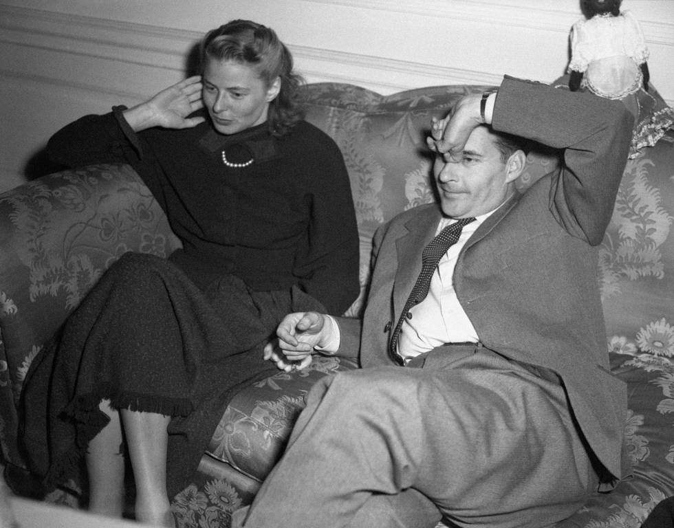 La actriz Ingrid Bergman con el director italiano Roberto Rossellini en 1949.