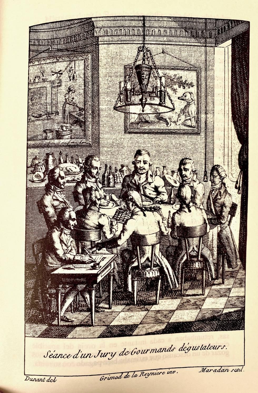 Estampa del jurado de cata, temible sociedad de catadores que creó Grimod de la Reinière.