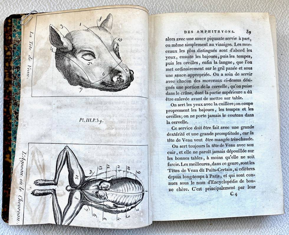 Despiece de cabeza de vaca y ranas. 'Manuel des Amphytrions'.