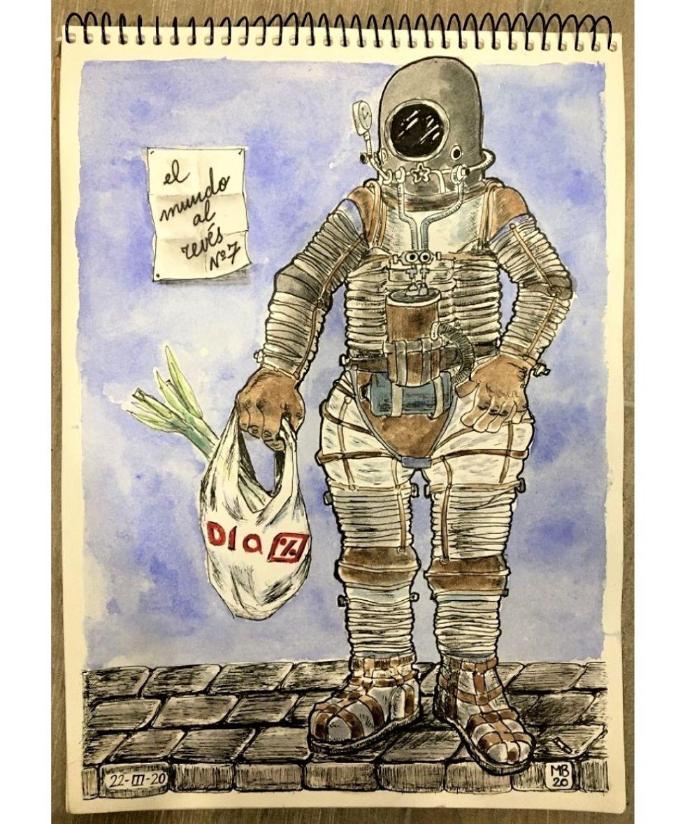 """El mundo al revés. Día 8. Dibujos confinados en Cuarentena. """"Ánimo, valiente"""""""