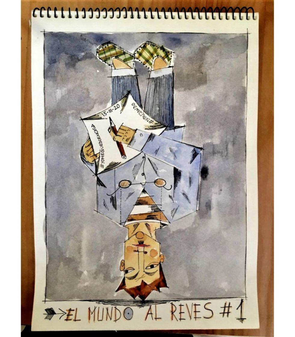 El mundo al revés. Día 1. Dibujos confinados en Cuarentena