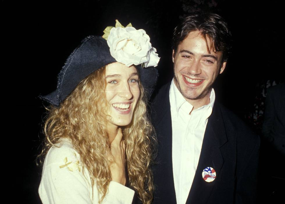 Sarah Jessica Parker con Robert Downey Jr., su pareja por aquel entonces, en 1988.