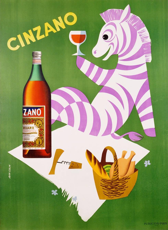 Para ilustrar este artículo como se merece hemos elegido antiguas imágenes publicitarias de bebidas espirituosas. Aquí, una cebra morada disfruta de un Cinzano.