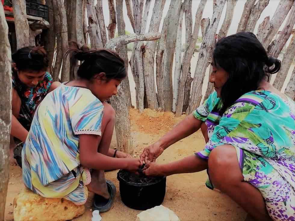 Tres mujeres de la comunidad wayuu.