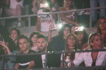 Messi in a concert of Maluma in Barcelona.