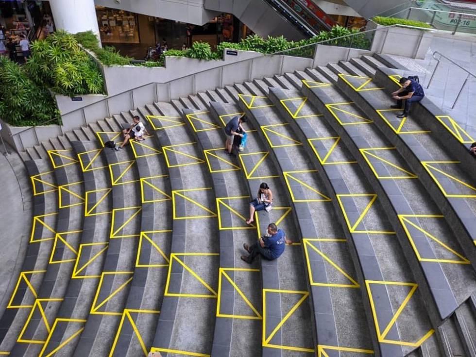 Cinta adhesiva en los exteriores del Centro comercial The Star Vista, Singapur.