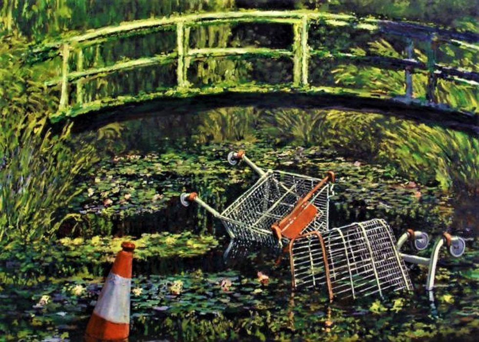 Versión de Banksy de la pintura de Claude Monet de 1899, Puente sobre un estanque de nenúfares.