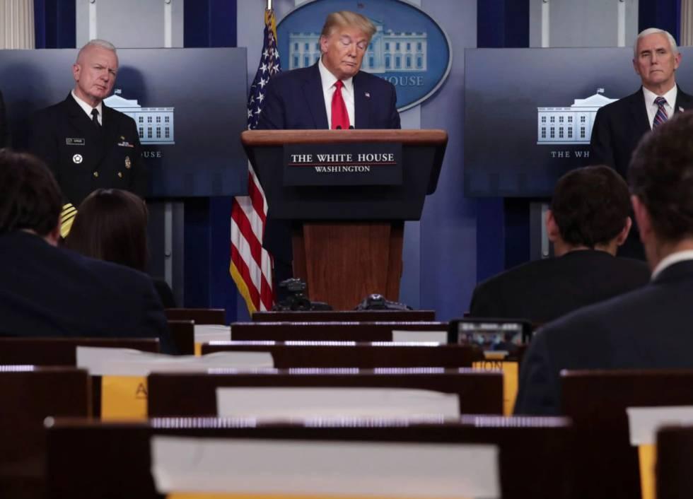 Donald Trump durante la rueda de prensa del Comité Técnico del Coronavirus.