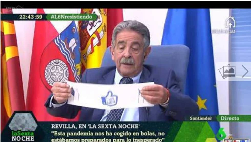 Miguel Ángel Revilla con una de sus polémicas mascarillas en 'La sexta noche'.