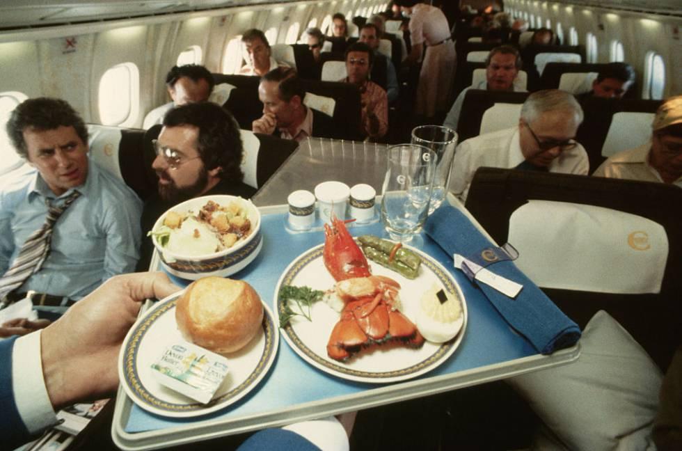 Menú con langosta en un vuelo del Concorde. La foto fue tomada en 1978.