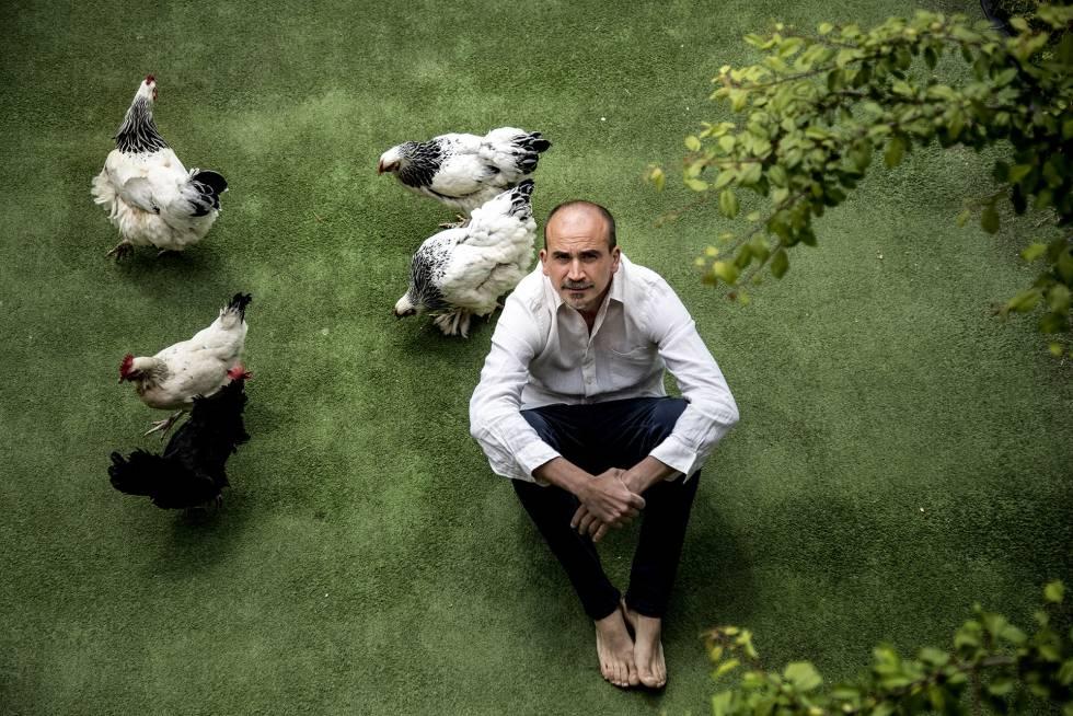 Cristóbal Icaza en su casa de la sierra de Madrid, con sus gallinas Montse, Choconata, Filomena, Montaña y K2