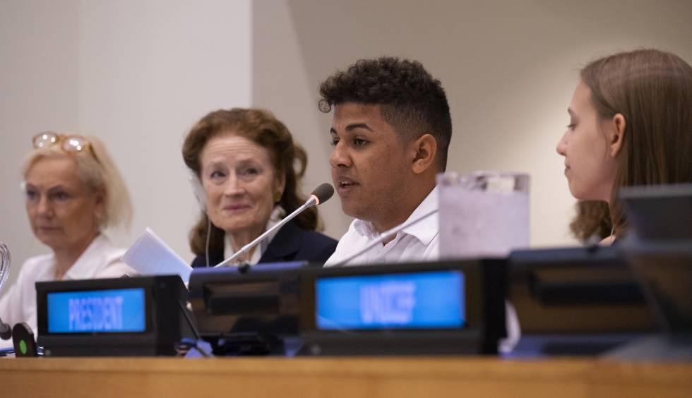 Felipe Caetano en su discurso en la reunión del Consejo Ejecutivo de Unicef, en la sede de las Naciones Unidas, en Nueva York, en septiembre de 2019.