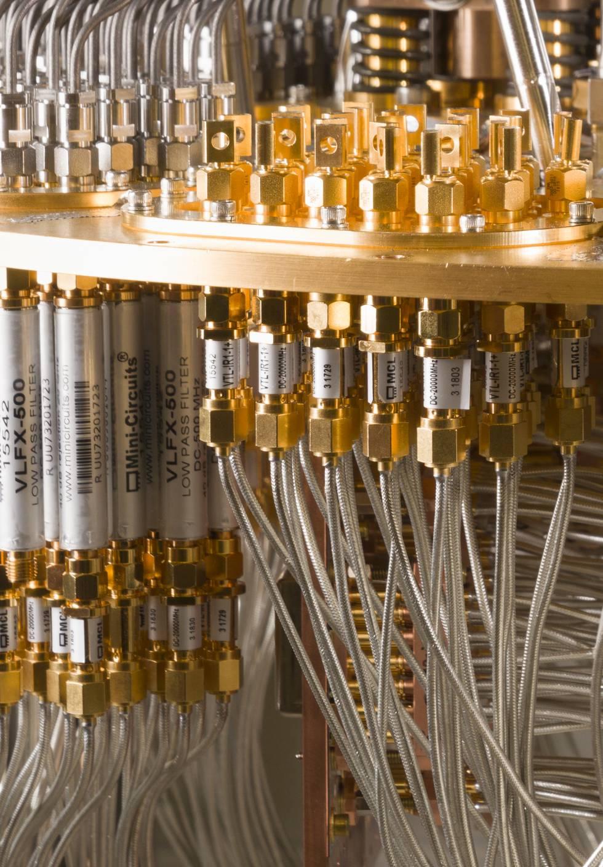 Detalle del interior del sistema cuántico de Google.