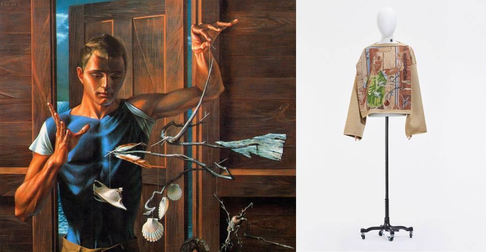 'The Inventor' de Paul Cadmus, y prenda de la colección masculina primaveraverano 2021 de Loewe que reproduce la pintura empleando la técnica 'jacquard'.