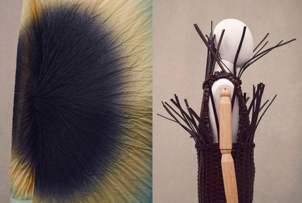 Tejido teñido con la técnica japonesa shibori y prenda elaborada con técnicas de cestería por la artesana Idoia Cuesta para Loewe.