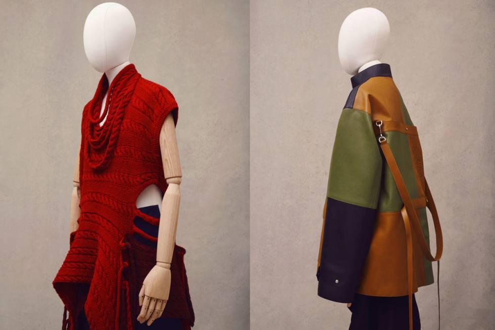 Prenda de punto y chaqueta de piel transformable en bolso pertenecientes a la colección de prêt à porter masculino de Loewe.