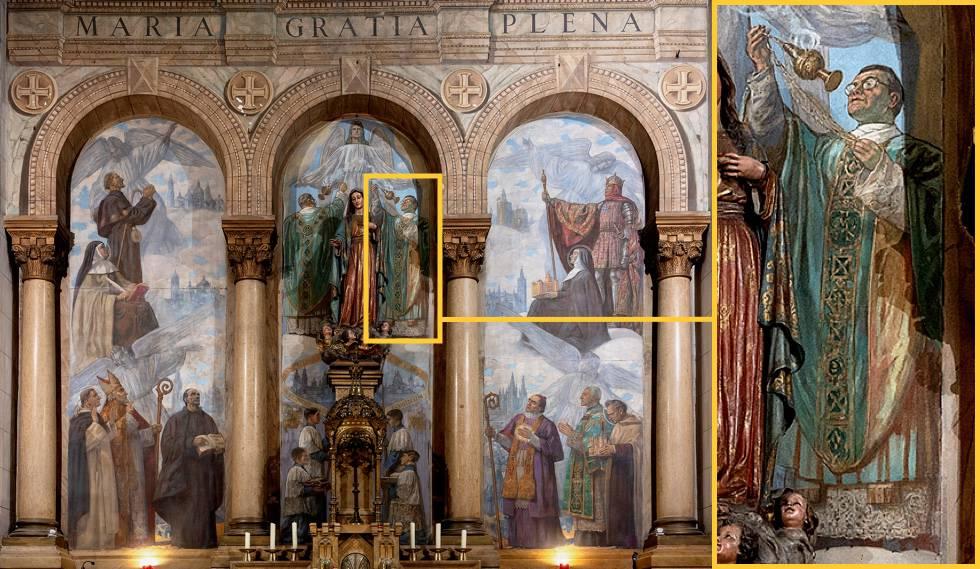 El retablo mayor de la iglesia de la misiónbclaretiana, donde se cree que aparece, en el centro a la derecha de la Virgen, retratado el padre Joaquín Aller, uno de los falsificadores de Dios.