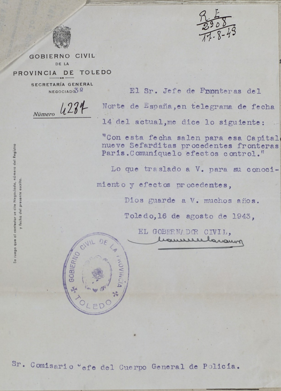 Telegrama del gobernador civil de Toledo al comisario jefe de la ciudad en el que le informa de que nueve sefardíes, entre ellos varios de los