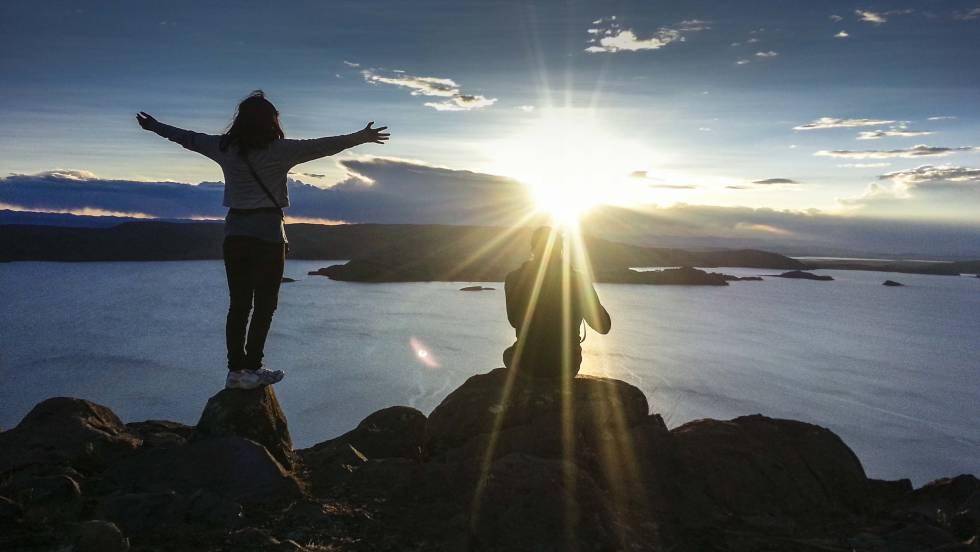 Atardecer en la cima de la isla de Amantaní, a 4.000 metros de altitud.