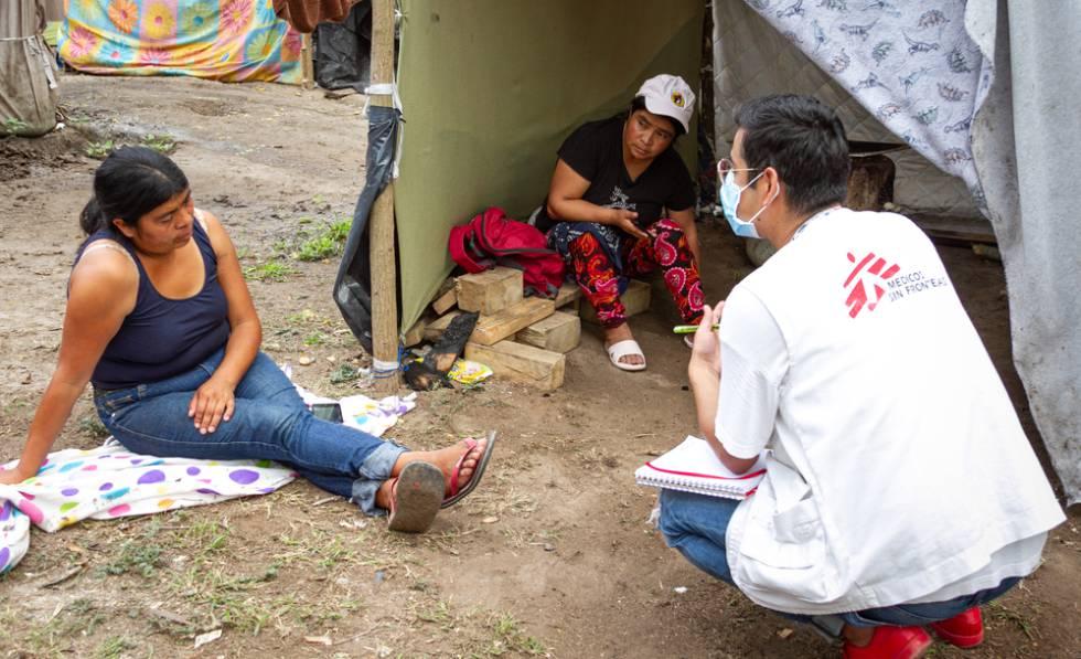 Actividades de promoción de la salud en el campamento de migrantes y solicitantes de asilo en Matamoros.
