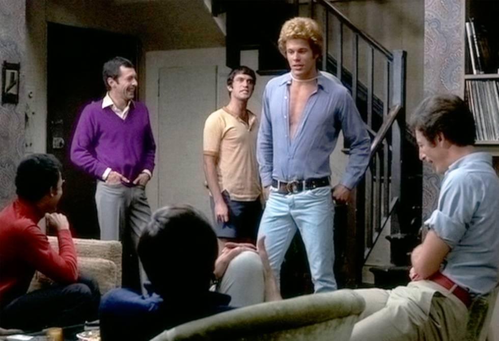 Reuben Greene (Bernard en la película, sentado de espaldas), Kenneth Nelson (Michael), Keith Prentice (Larry, sentado de espaldas a la cámara), Cliff Gorman (Emory) y Robert La Tourneaux.