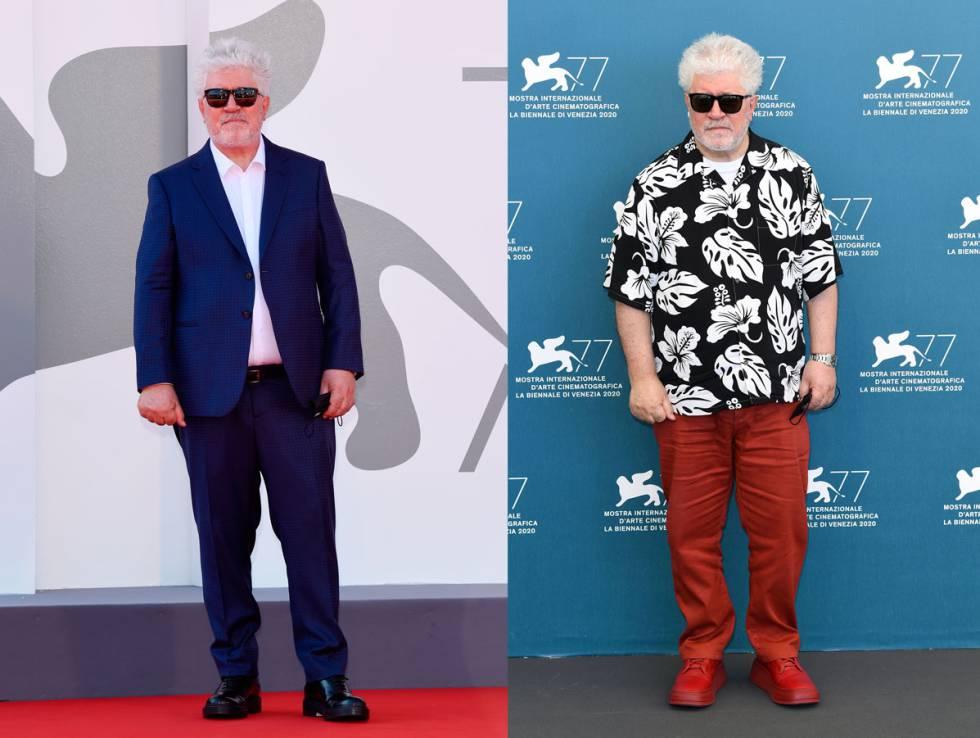 Almodóvar durante sus apariciones públicas en Venecia este septiembre.