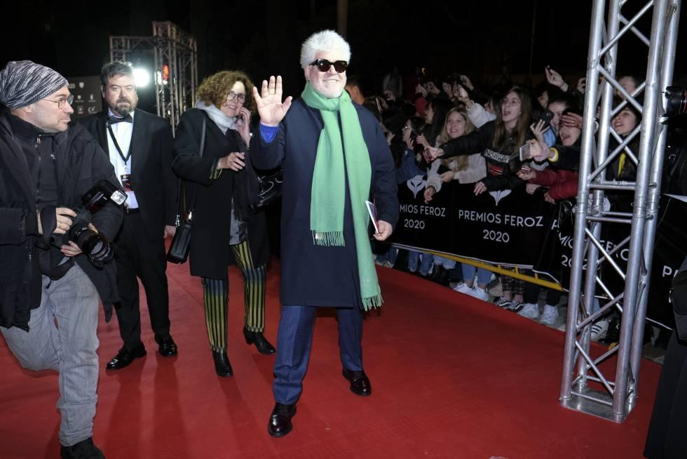 Almodóvar demostrando cómo se lleva una bufanda a su llegada a los Premios Feroz 2020.