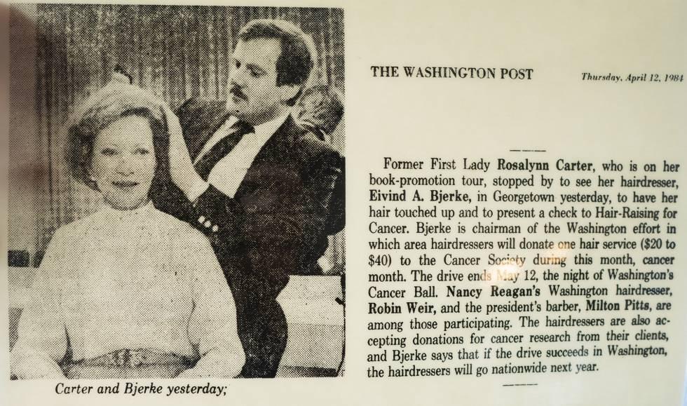 Bjerke atusa el peinado a la primera dama Rosalynn Carter en 1984.